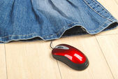 Jean skirt and computer mouse — Stock Photo