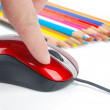 Stock Photo: Color pencil and computer mouse