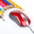 Color pencil and computer mouse — Stock Photo #13682919