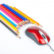 Color pencil and computer mouse — Stock Photo
