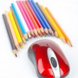 Color pencil and computer mouse — Stock Photo #13682946
