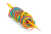 Faixa de borracha e lápis — Fotografia Stock