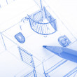 Pencil and blueprint — Stock Photo
