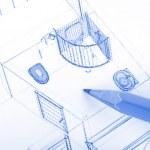 Pencil and blueprint — Stock Photo