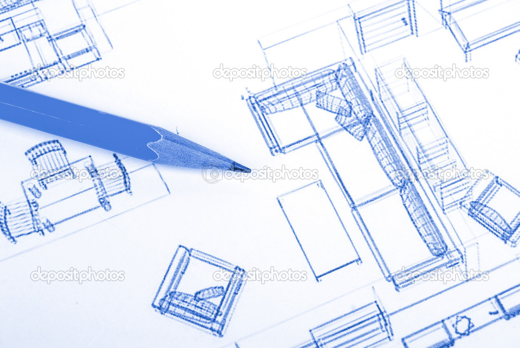 Pencil and blueprint — Stock Photo #13717557