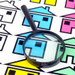Stock Photo: Magnifier and house