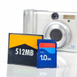 Memory card and camera — Foto de Stock