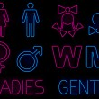 Neon gender signs — Stock Vector
