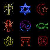 Símbolos religiosos de néon — Vetor de Stock