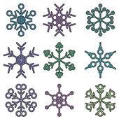 Fett isoliert schneeflocke designs — Stockvektor