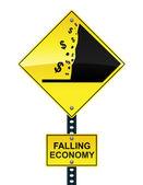 Klesající ekonomiky dopravní značka — Stock vektor