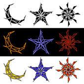 Celestial Designs In Three Styles — Stock Vector