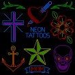 Neon Tattoos — Stock Vector