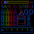 Vector de stock : Neon Back-to-school Signs