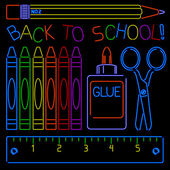 Neon Back-to-school Signs — Stock Vector