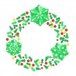 Paper Christmas Snowflake Wreath — Stock Vector