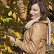 Beautiful woman holding hands autumn bush and smiling — Stock Photo