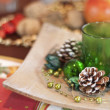Christmas table decorations - Stock Photo