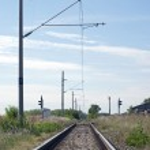 Electrified railway line — Stock Photo