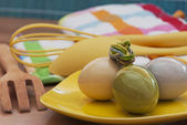 Easter eggs and kitchen utensils — Stock Photo
