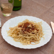 Royalty-Free Stock Photo: Tasty spaghetti with sauce and white wine