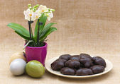 Orchid flower, easter eggs and gingerbread — Stock Photo