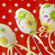 Three decorative painted easter eggs — Stock Photo