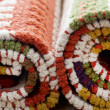 Stocked rolled carpets - Foto Stock