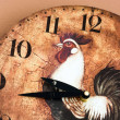 Wall clock with a rooster theme — Stock fotografie