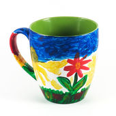 Hand painted ceramic mug — Stock Photo