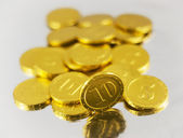Gold chocolate coins — Stock Photo