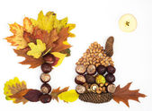 Haus, Baum und Sonne. Herbst-Thema. — Stockfoto