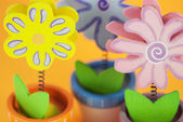 Wooden decorative painted flowers — Stock Photo
