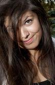 Young woman makes a crazy face — Stock Photo