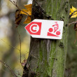Trail direction cyclist sign. — Stock Photo