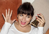 Young beautiful woman ringing christmas hand bell — Foto Stock