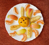 Sliced tangerines and apples — 图库照片
