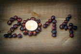 PF 2014 made from the rosehip with tea candle — Stock Photo