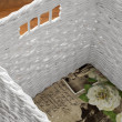 Close up of a white wicker basket — Stock Photo #38691807
