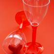 Two glasses with valentine heart — Stock Photo