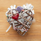 Decorative valentine heart made of paper and fabrics — Stock Photo