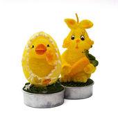 Dekorativa påskharen och chick — Stockfoto