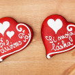 Two gingerbread love hearts — Stock Photo #40272591