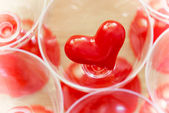 Valentine red heart in glass — Stock Photo