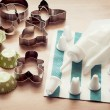 Piping bag set with cookie cutters and cups for cupcakes — Stock Photo #40656007