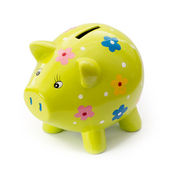Painted ceramic piggy bank — Stock Photo