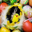 Stock Photo: Easter painted eggs and yellow chick