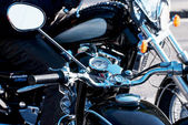 Chrome veteran motorbikes with rearview mirror — Stock Photo