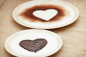 Sweet cocoa hearts in semolina pudding — Stock fotografie