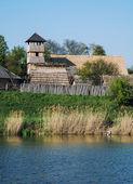 Archeoskanzen Blue - Great Moravian fortified settlement near th — Stock Photo